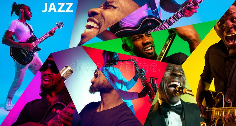Young african-american jazz musicians in creative collage. Young african-american musicians playing the guitar, saxophone, drums and singing in neon light in royalty free stock image