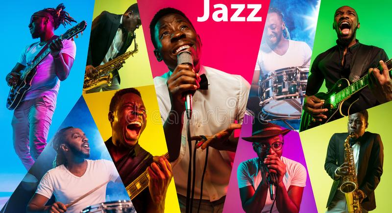 Young african-american jazz musicians in creative collage. Young african-american musicians playing the guitar, saxophone, drums and singing in neon light in stock image