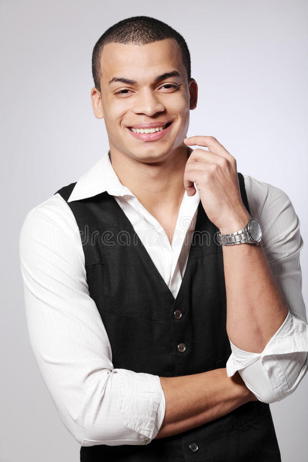 Young African-American male fashion model. royalty free stock photo