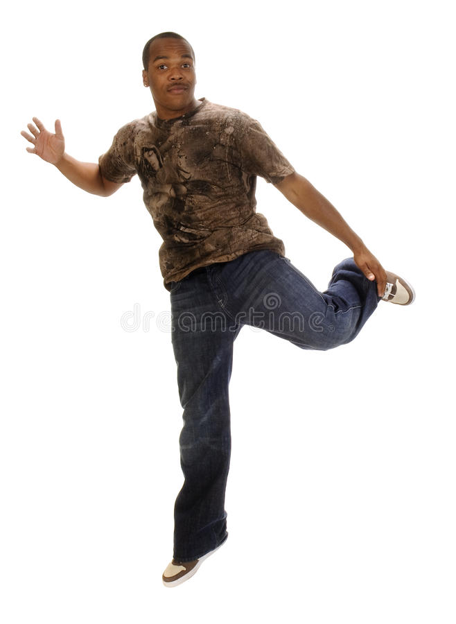Young african american man dancing royalty free stock images