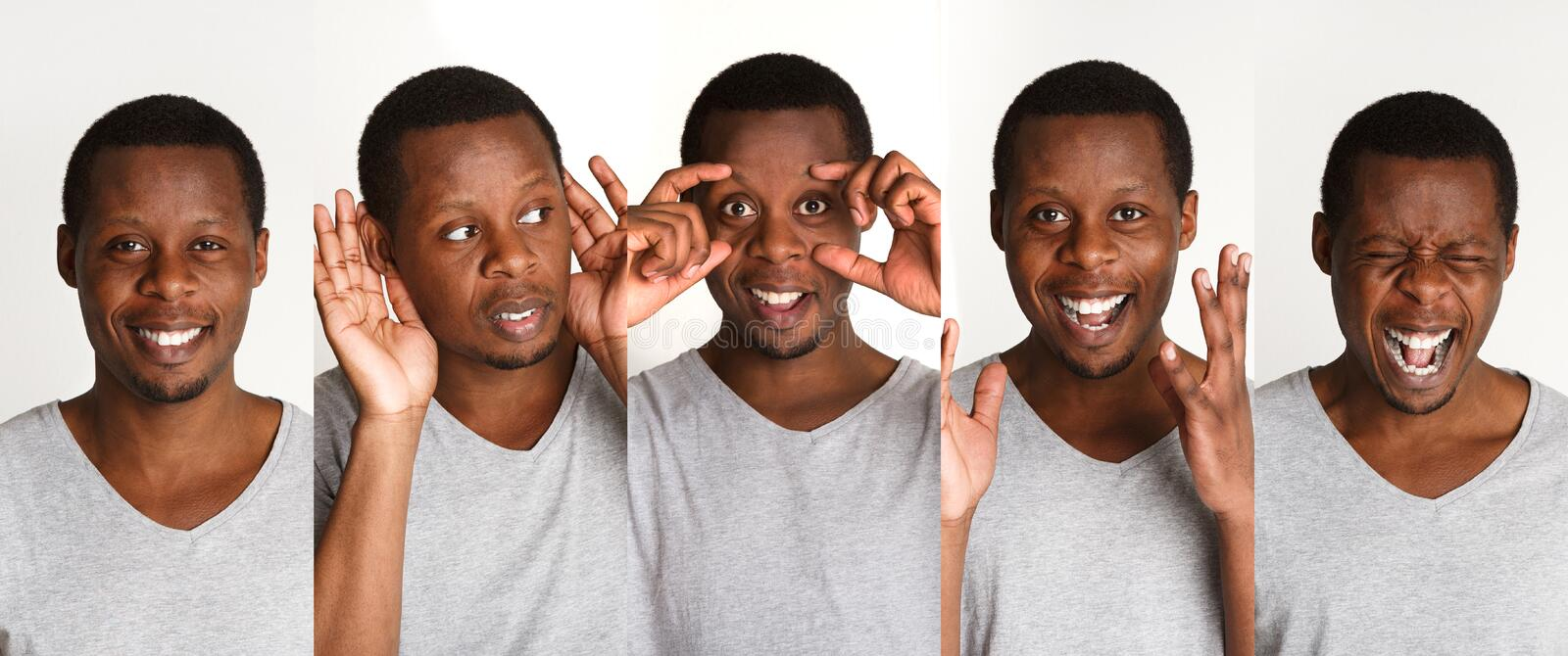 Set of black man`s portraits with different emotions stock photography