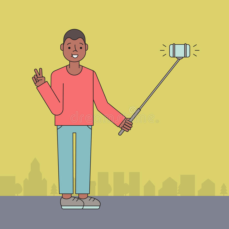 Young African American man makes selfie on the street. Young African American man makes selfie with selfie stick on the street royalty free illustration