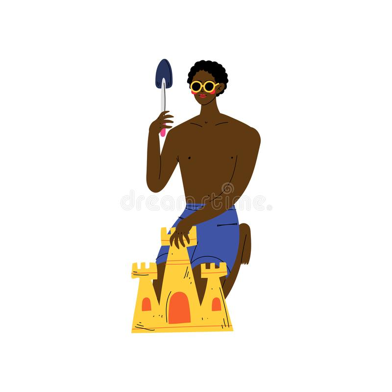 Young African American Man Making Sand Castle on Beach with Small Scoop, Guy Relaxing on Beach on Summer Vacation Vector stock illustration