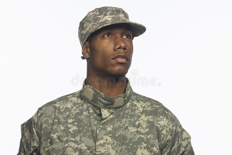 Young African-American military man, horizontal stock photo