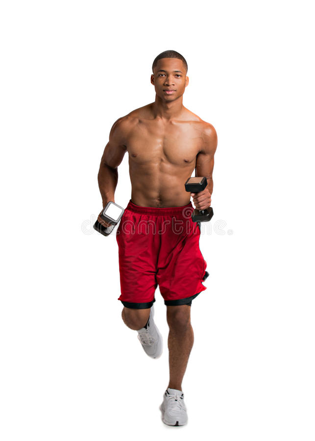Young African American Runner Indoor Isolated