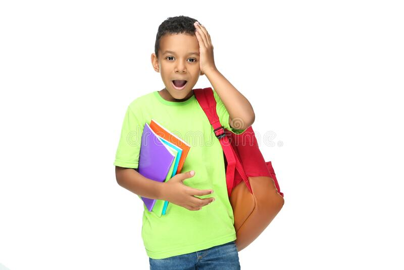 Young African American school boy stock photos