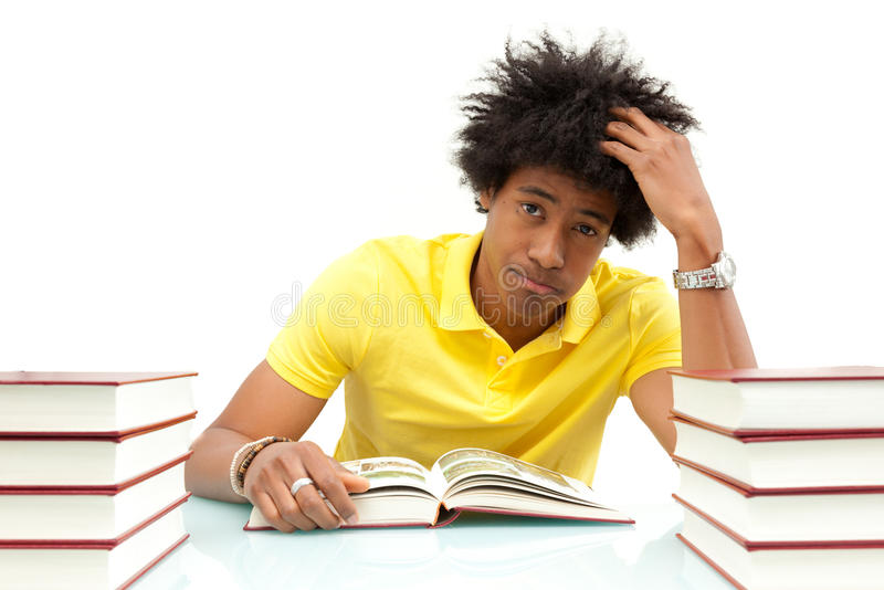 Young african american student reading books - African people