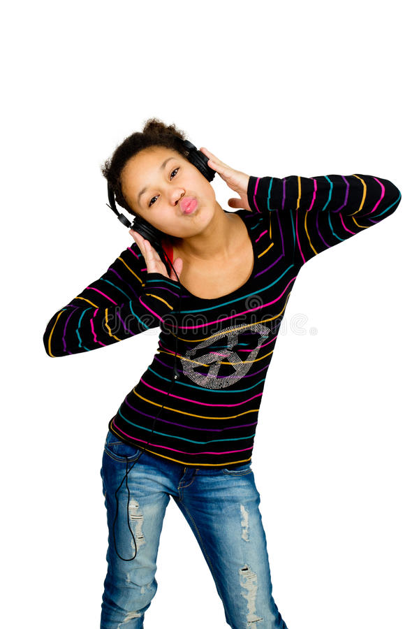 young african american teenager listening to music royalty free stock photos