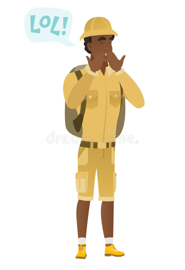 Young african-american traveler laughing out loud. Young african traveler laughing out loud. Traveler and speech bubble with text - lol. Traveler laughing out royalty free illustration