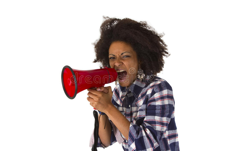 Young african american using megaphone. Young african american yelling at her megaphone isolated on white background stock images