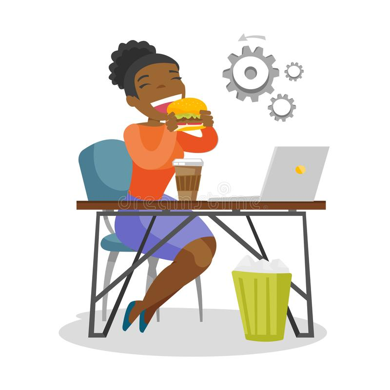 Young african-american woman eating hamburger. vector illustration