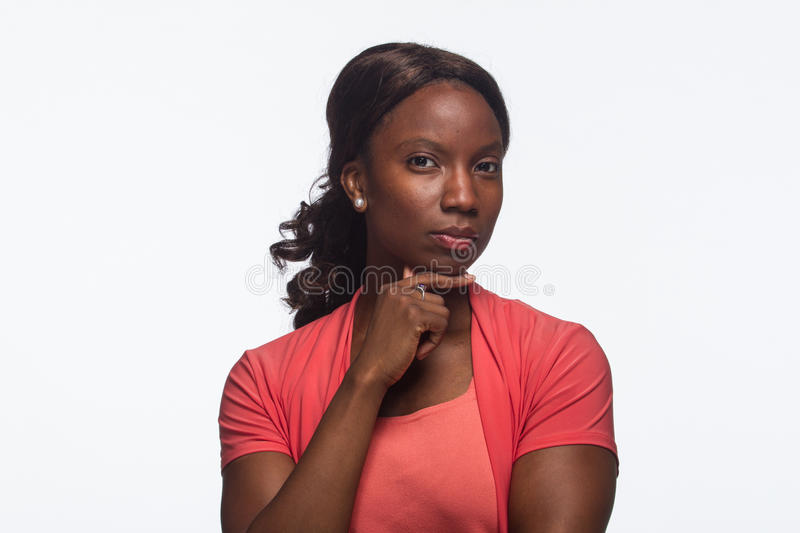 Young African American woman thinking, horizontal royalty free stock image