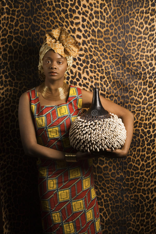 Young African American Woman in Traditional Africa stock photos