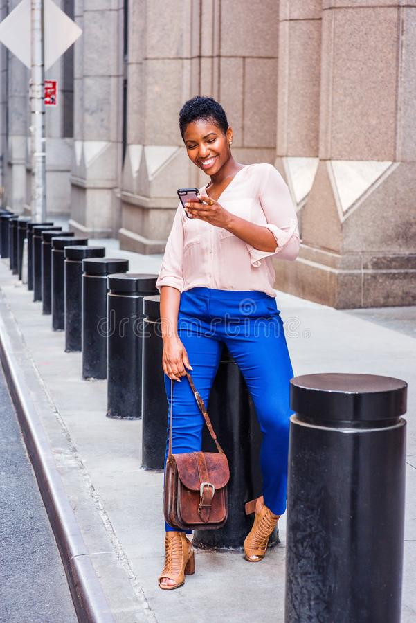 Young African American Woman traveling in New York stock photos