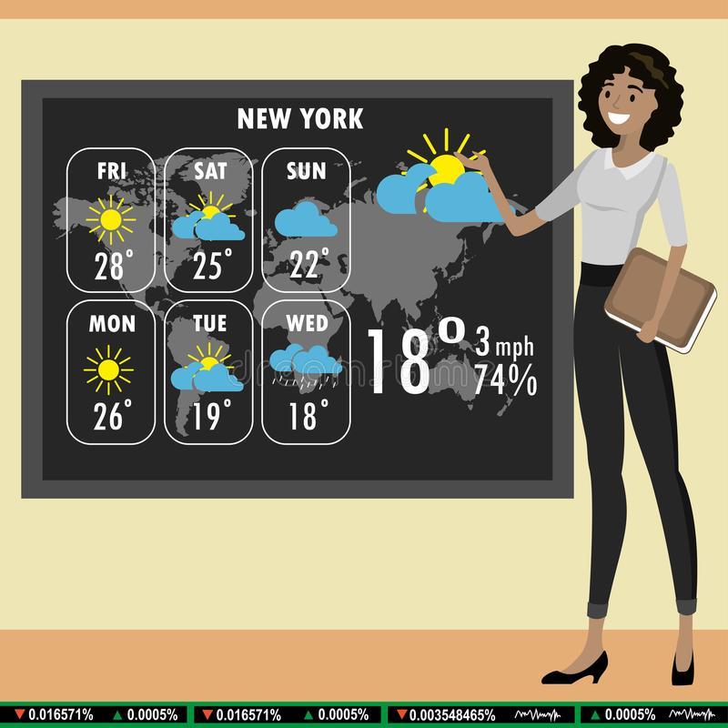 African american woman on TV tells a weather forecast, royalty free illustration