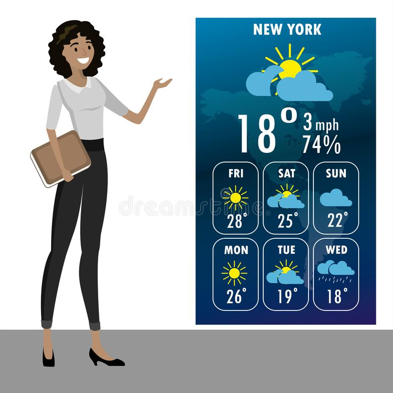 Young african american woman on TV tells a weather forecast royalty free illustration