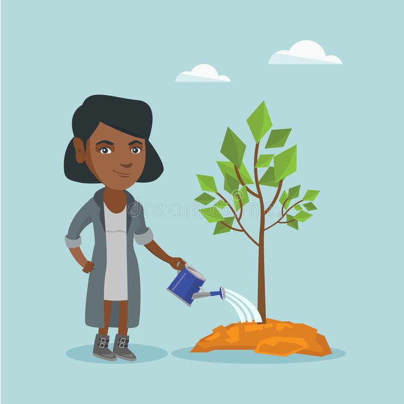 Young african-american woman watering a tree. vector illustration