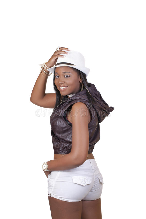 Download Young African American Woman White Hat Shorts Stock Photo - Image: 28309272