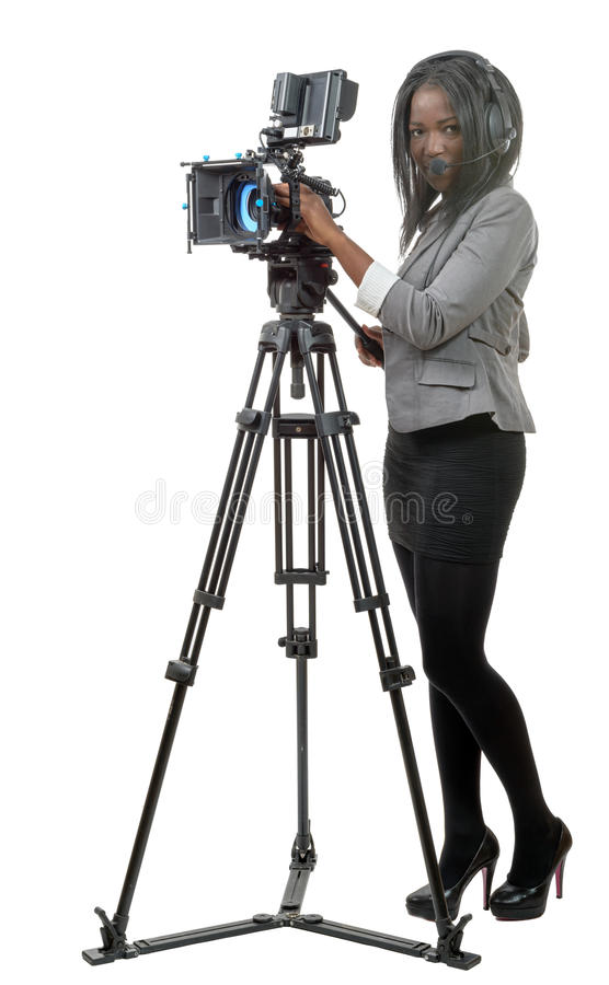 Young African American women with professional video camera and royalty free stock photos