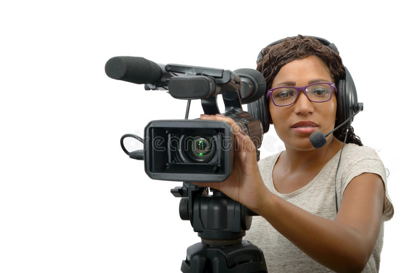 Young African American women with professional video camera royalty free stock images