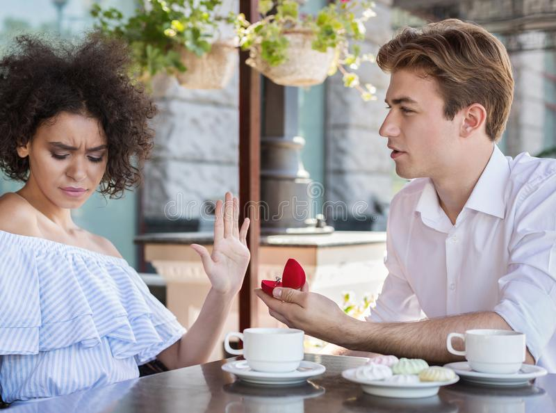 Young african-american woman said no to proposal royalty free stock photo