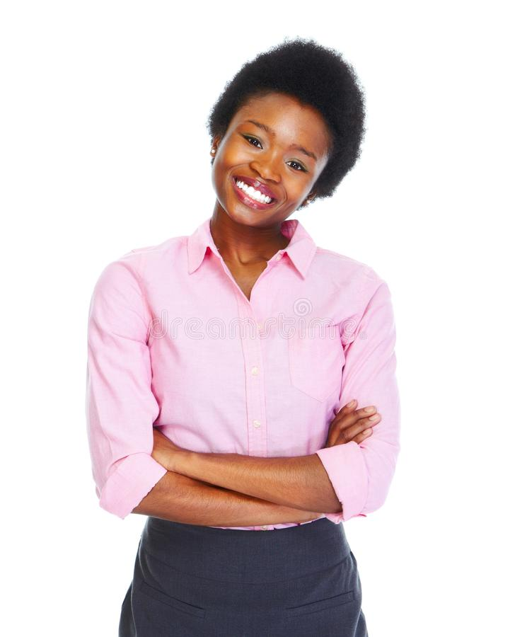 Young african business woman. Isolated white background royalty free stock photos
