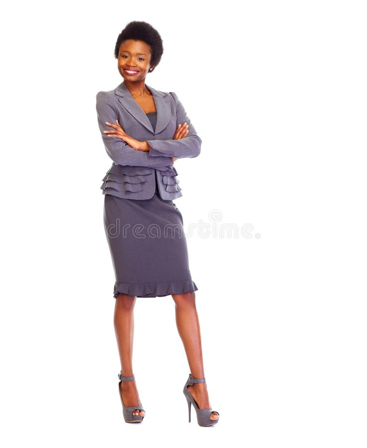 Young african business woman. White background royalty free stock photo