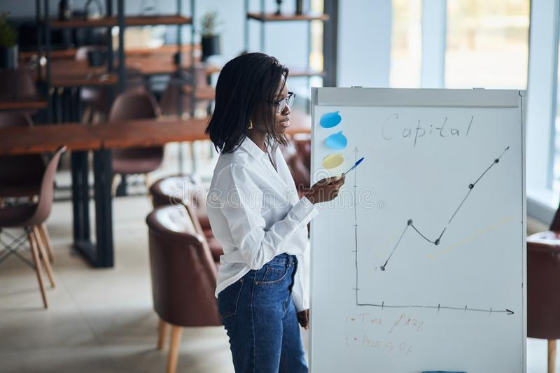 Young african businesswoman stand talking explaining making flip chart presentation royalty free stock photos
