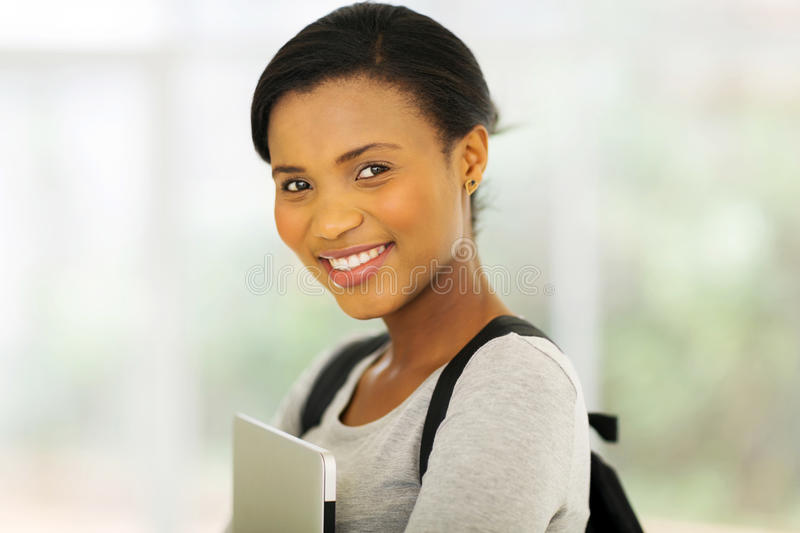 Young african college girl stock images