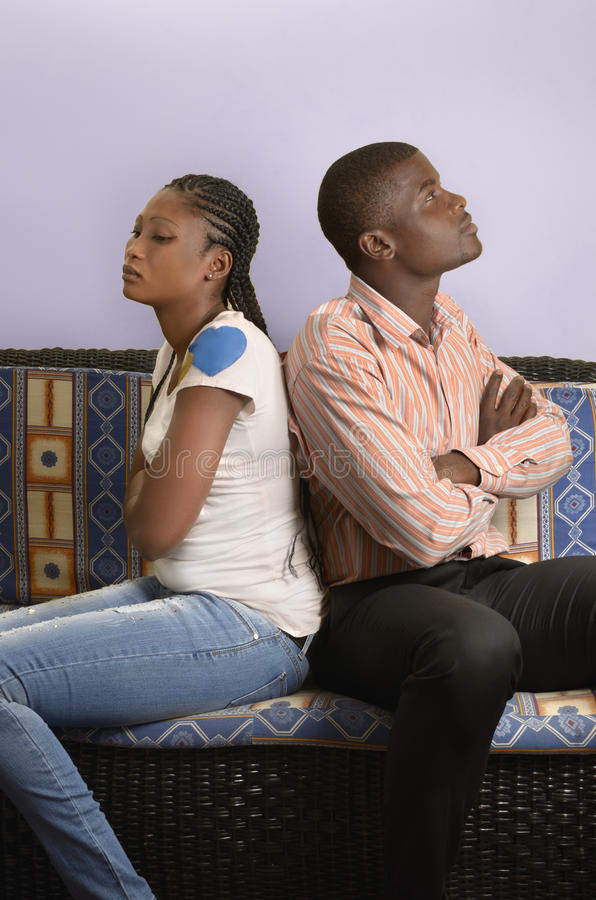Young african couple in conflict stock photo