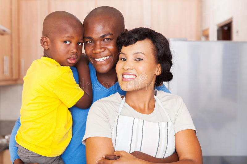 Young african family standing royalty free stock photography
