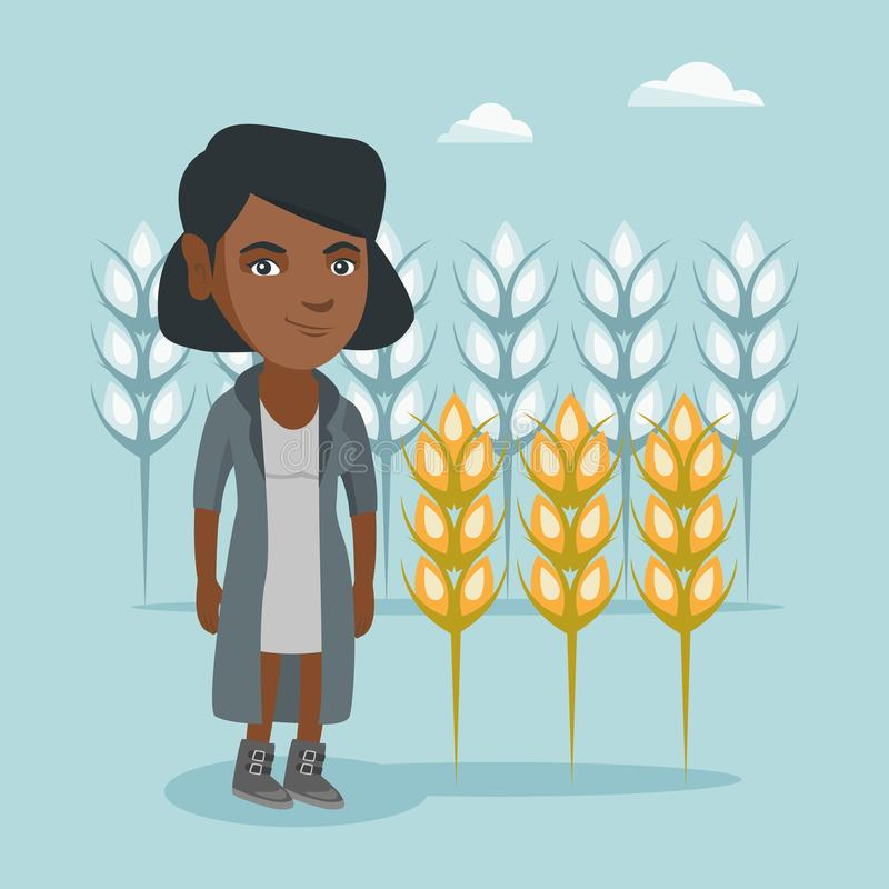 Young african farmer standing in a wheat field. vector illustration