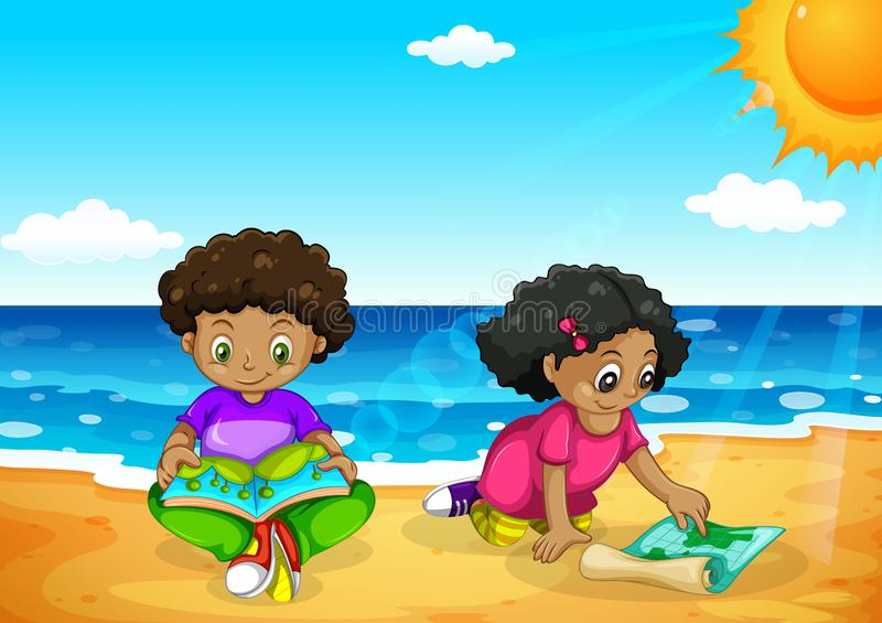 Young african kids at the beach vector illustration