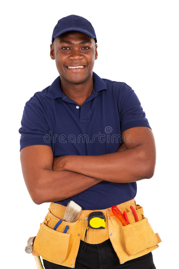 young african repairman stock photo