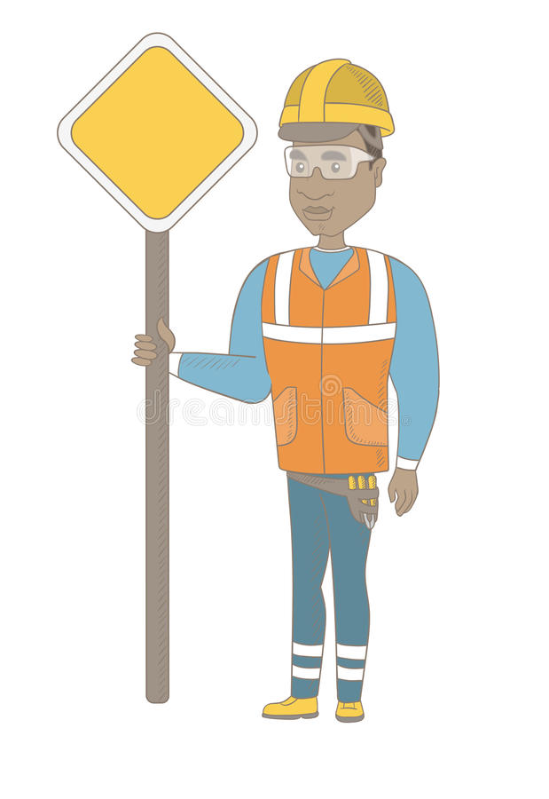 Young african road worker showing road sign. vector illustration