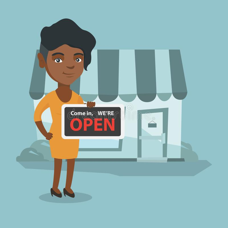 Young african shop owner holding open signboard. vector illustration