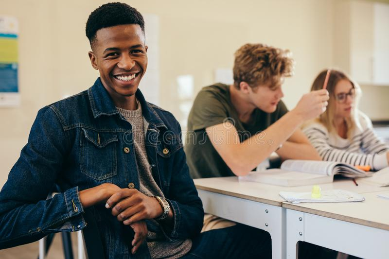 African student with classmates in classroom royalty free stock image