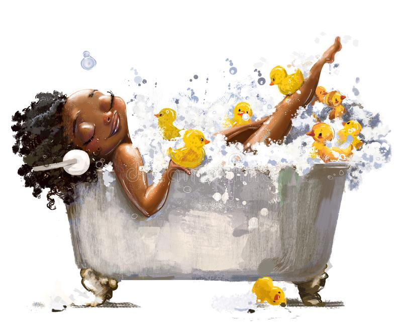Young african woman in bath. With duck toys vector illustration