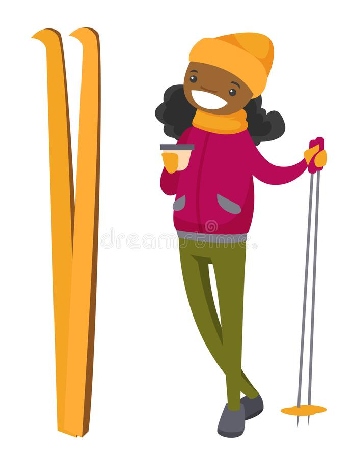 Young african woman drinking coffee at ski resort. vector illustration
