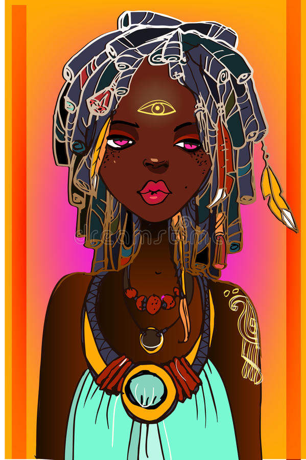 Young african woman vector illustration