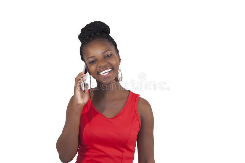 Young African Woman On Mobile Phone Royalty Free Stock Photography