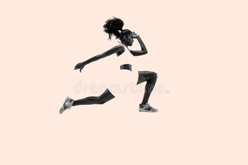 Young african woman running or jogging, creative collage stock images