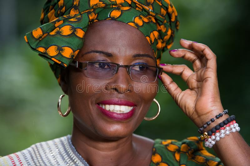 Close up of young african woman, happy royalty free stock image