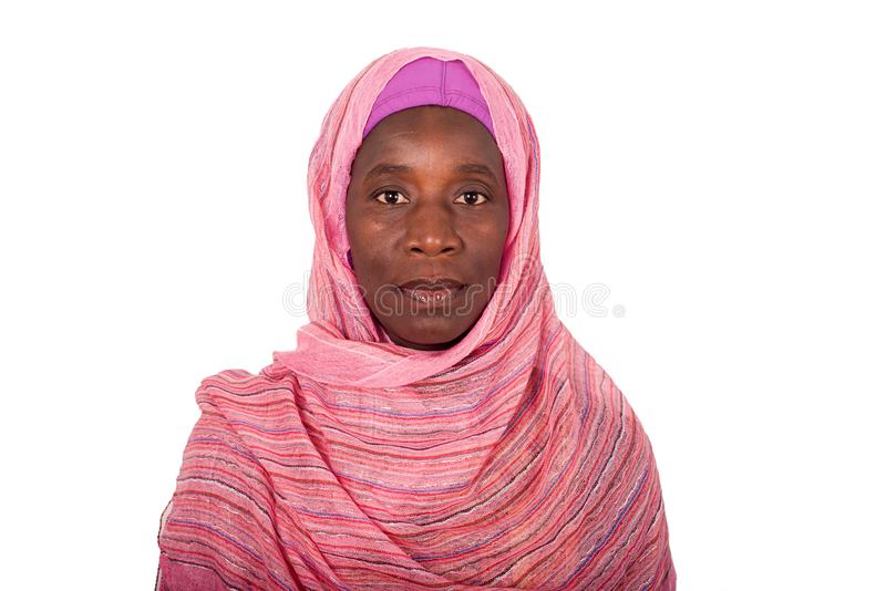 Portrait of a young African woman with veil stock images