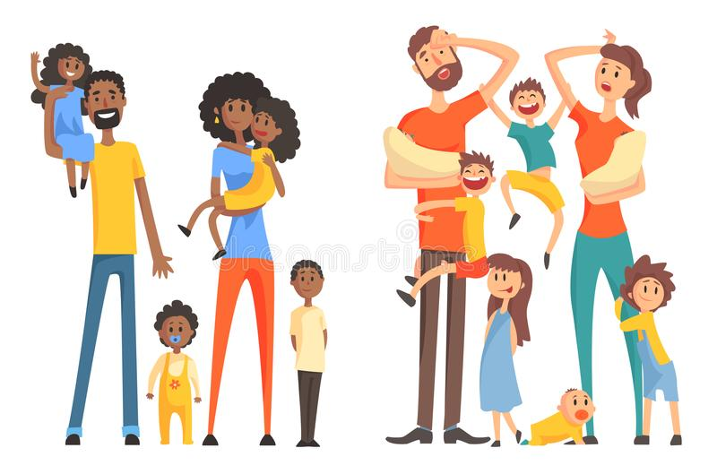 Young Afro-American and caucasian family. Cheerful and tired parents with children. Funny little kids and newborns. Flat. Young Afro-American and caucasian vector illustration