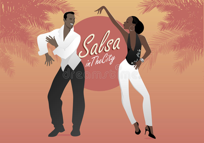 Young afro american couple dancing salsa. stock illustration