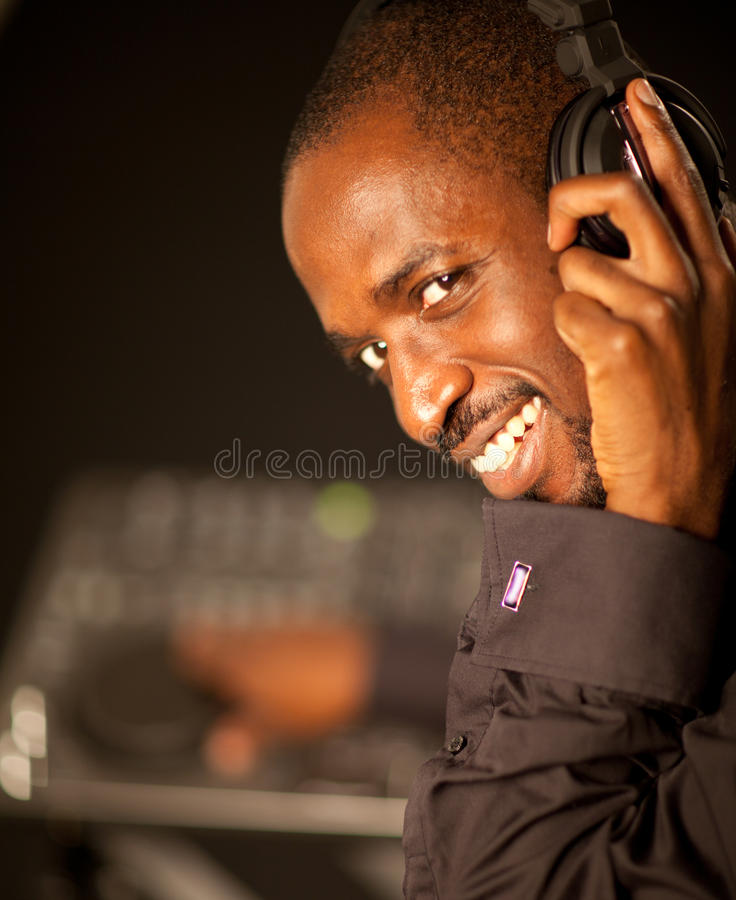 Download Young afro american dj stock photo. Image of male, club - 23357406