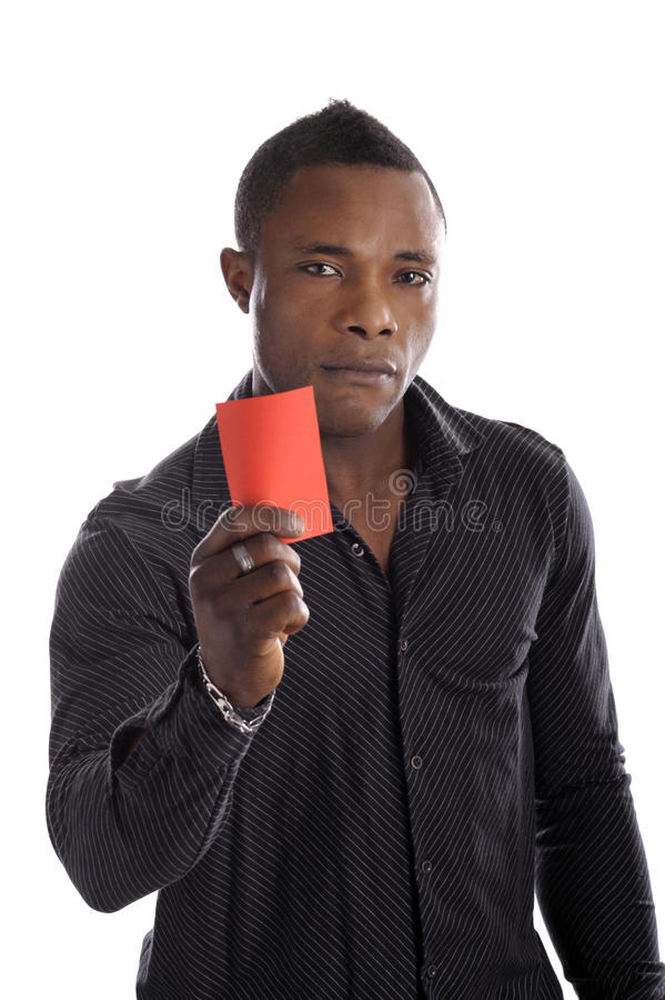 Young Afro American Man With Red Arbitrator Card Stock Images