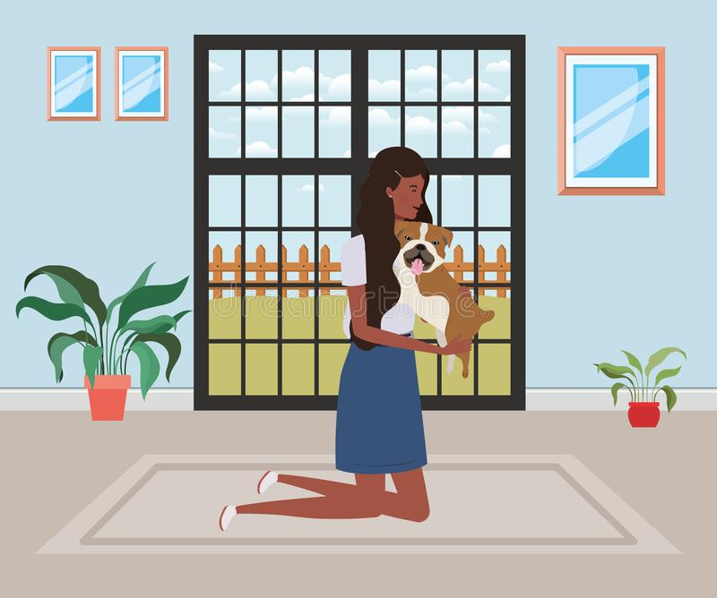 Young afro woman lifting cute dog indoor the house royalty free illustration