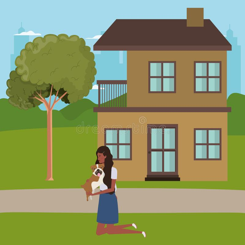 Young afro woman lifting cute dog outdoor the house stock illustration